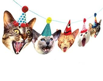 Cats Birthday Garland - photo reproductions on felt - funny cat portraits birthday banner
