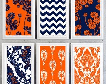 Orange and Navy modern wall prints patterns, chevron damask floral-Set of 6