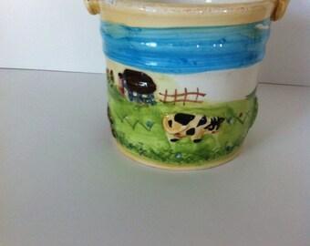 porcelain  Handled Pot / vintage pail / farm pail / cow pail / farm handle pot / planter