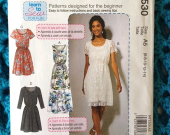 McCall's 7530, Misses Dress, Scoop Neck, Scalloped Lace, Gathered Waist, Learn to Sew, New uncut sewing pattern