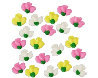 Sweet Pea Icing Flowers - pretty edible royal icing flowers in sweet pastel colors for decorating cupcake, cakes, cookies, and cakepops