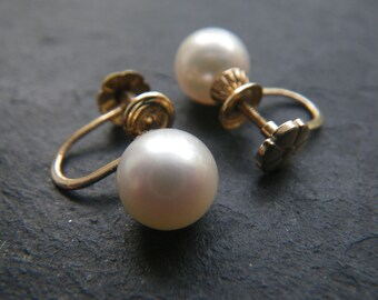 Pearl and solid 14kt gold heirloom  earrings - 8 mm