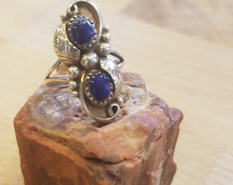 Blue lapis and sterling silver ring size 6 and 1/2