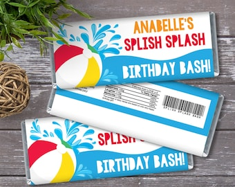 Pool Party Candy Bar Wrapper - Candy Bar Label, Birthday Party Favors, Summer | DIY Editable Text Instant Download PDF Printable