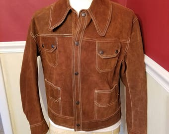 FREE  SHIPPING   Men  Mod  Suede  Jacket