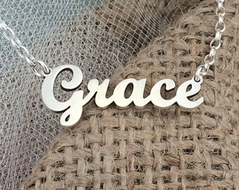 Name necklace, Custom word necklace, Grace necklace, Children Names Necklace, Personalized Name Necklace, Sterling silver 925