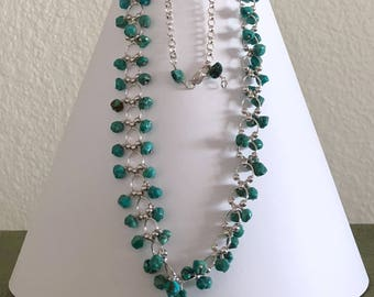 Elegant! Turquoise nuggets and Sterling Silver Necklace