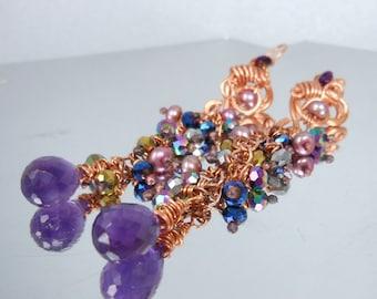 Amethyst and Pearl cascade earrings February birthstone dangle earrings