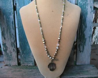 26 Inch Long Pearl Jasper Copper Necklace