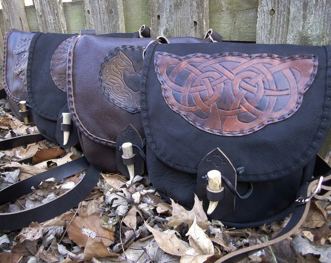 Celtic Leather Bags, Large Medieval Renaissance Fantasy Purse, Antler Point, Cross Body Strap, Deluxe - Choose Your Bag