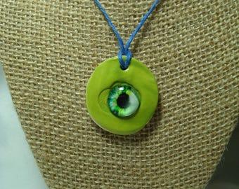 Handmade Chartreuse Green Ceramic Monster Eyeball Necklace.