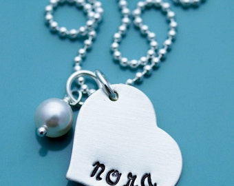 Hand Stamped Necklace Sterling Silver Engraved Heart Pendant Personalized Necklace for Mothers Day Gift New Mom gift