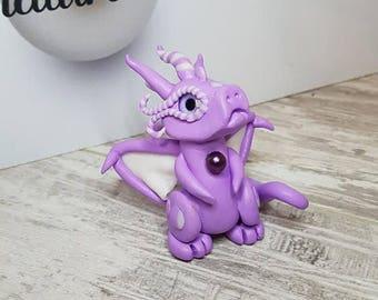 Polymer Clay Purple Winged Dragon