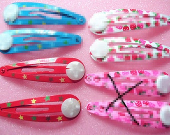 12pcs Red hair clips with Star Snap Clips  flat pad-10mm Length -48mm