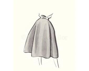 FLASH SALE til MIDNIGHT Vintage Fashion Sketch Dress 3, Girls Room decor, nursery decor, neutral tones, grey, cream, girls room prints