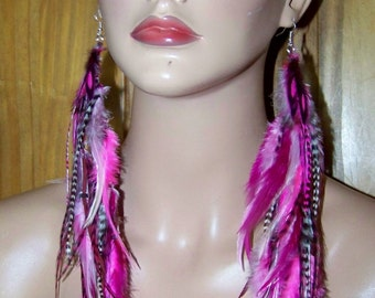 Pink Feather Earrings, Festival jewelry, Long earrings, Earrings Feather, Black, White, Pink Earrings, Feather Jewelry, Dangle, Feathers