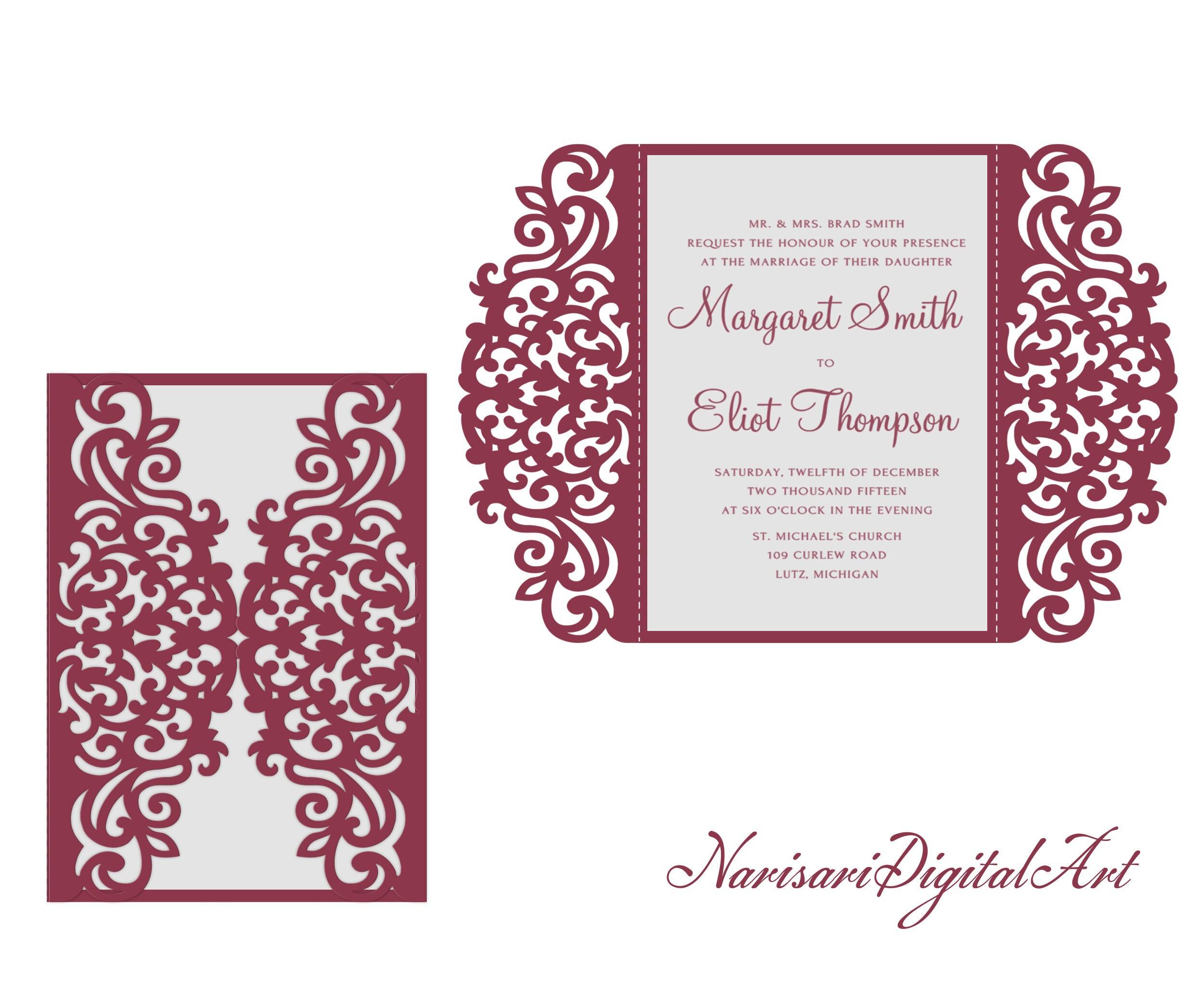 5x7\'\' SVG DXF CDR Gate-fold Wedding Invitation Card laser Cut