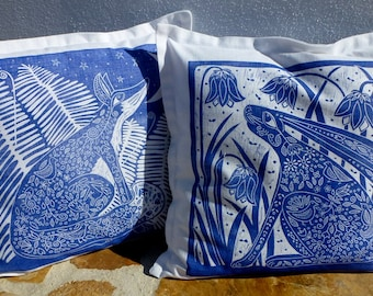 set of 2 cushion covers, fox, hare, blue print, linen fabric, handprinted covers, sofa cushions, decorative pillow covers, blue and white