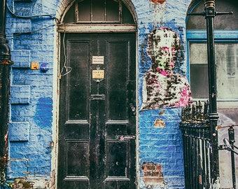 Dublin Door #72 - Blue, Black, Ireland, Dublin, Architecture, Colour, Texture, Street Photography, Urban, Fine Art Photography