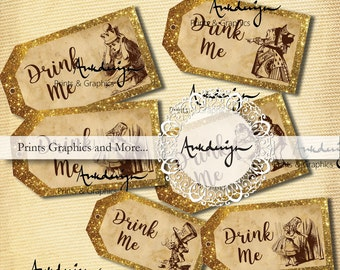 Drink me Golden Tag horizontal Alice in Wonderland Favor Tags, Wedding decor,  Wedding tags, Alice in Wonderland Decoration,  Printable Tags