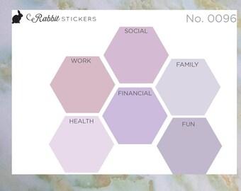 Goal Stickers - 0096 goal stickers, planner stickers, honeycomb goals, bujo, bullet journal