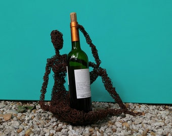 wire sculpture woman rusty wine holder  wire art candle holder