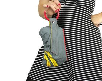 Gray Red & Yellow Sporty Bracelet Handbag Clutch
