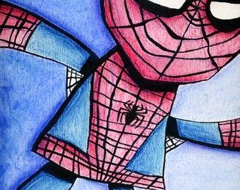 Superhero Spiderman Art Print Illustration
