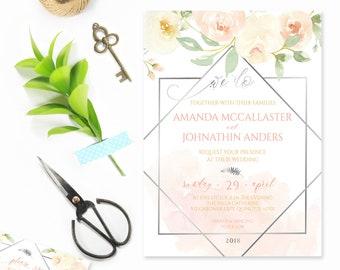 Bohème Floral de mariage Invitation ensemble, Floral géométrique papeterie géométrique invite Floral aquarelle Blush rose argent Roses de mariage