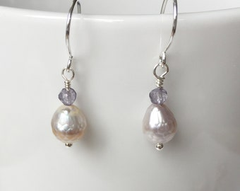 Peach Pink Faceted Peal and Iolite Earrings
