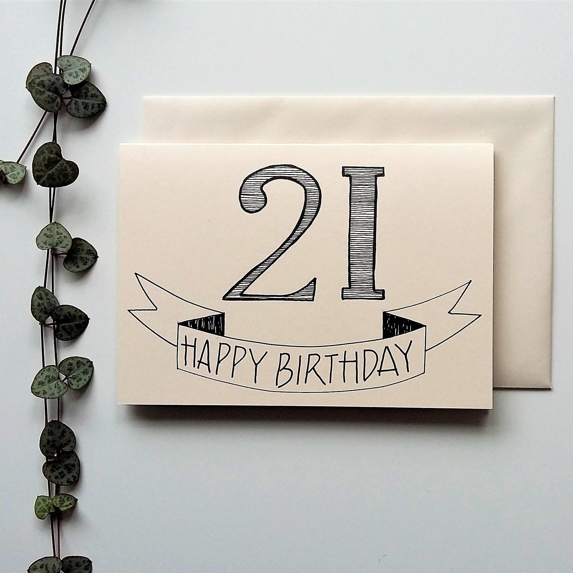 21st birthday card a6 hand drawn birthday card bookmarktalkfo Gallery