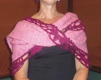 Warm crochet shawl with elegant lace edging