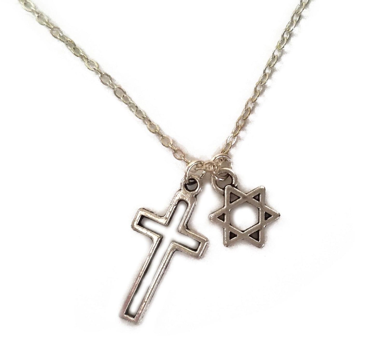 Interfaith jewish star cross necklace judeo christian zoom biocorpaavc Images