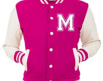 Personalized Pink Varsity Jacket, Base Ball Jacket, Letterman Jacket Pink & White - Custom Letter M