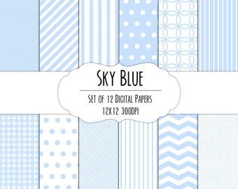Sky Blue Digital Scrapbook Paper 12x12 Pack - Set of 12 - Polka Dots, Chevron, Stripes, Gingham - Instant Download - #8003