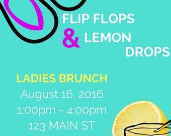 Flip Flops & Lemon Drops Party Invitation