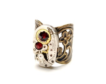 JULY Steampunk Ring RUBY RED Steampunk Watch Ring Antique Brass Ring Steam Punk Victorian Steampunk Jewelry By Victorian Curiosities