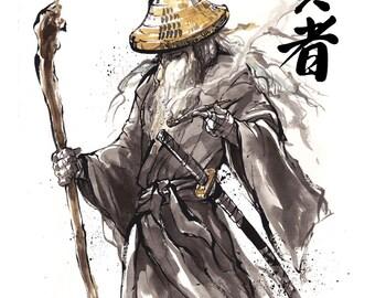 8x10 PRINT Lord of the Rings Gandalf Samurai Sumi Japanese Calligraphy