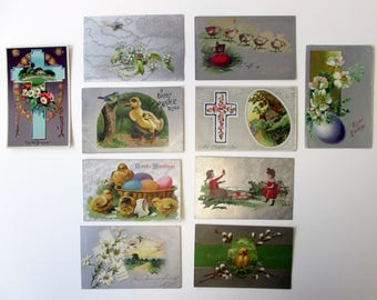 Lot of 10 antique Easter postcards. Vintage holiday gifts and decorations. Easter Bunny / Easter Sunday / Christian Inspirational / Spring!