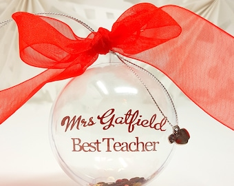 Personalised Special Teacher Gift Baubles Xmas Tree Decorations Apple Classroom