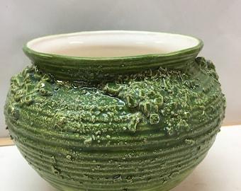 Handmade ceramic green  hand thrown flower pot