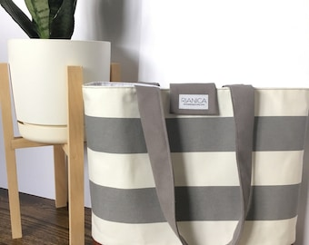Grey and white striped Tote Diaper Bag