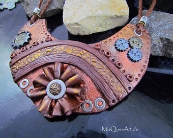 Steampunk statement-Necklace in leather look