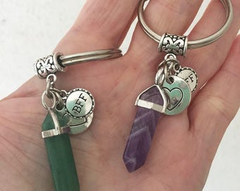 2 Crystal Best Friends BFF Keychains/ Pair of Best Friends Heart Key Rings/ Best Friends Forever/ Crystal Friends Keychains Pick Crystal
