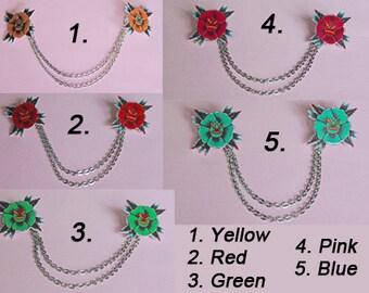 Bolero cardigan collar clips rose flower tattoo flash art pinup rockabilly rockabella style 50s shrink plastic, girlfriend, mother, gift