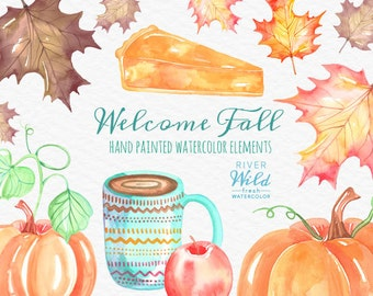 Fall Watercolor Clipart, Hand Painted High Quality Trendy Fall Clipart Pack, Commercial Use Digital Download Watercolor Graphics Pumpkin PNG