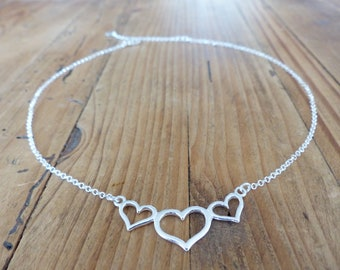 Chain Silver 925 - heart pendant - Heart Necklace silver dainty necklace - gift mothers day-short minimalist necklace
