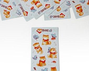 Rude Shiba Inu Dog and Offended Bird Sticker Sheet