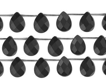 15 1/2 IN Strand 7x10 mm Black Onyx Flat Teardrop Faceted Gemstone Beads (BLAFTF0710)