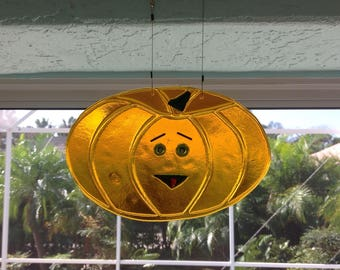 Fused Glass Pumpkin Suncatcher